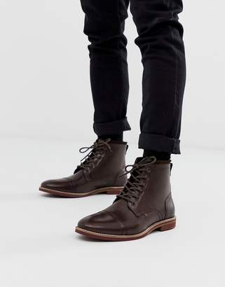 abf9b1d0ac6 Mens Brown Lace Up Boots Leather Sole - ShopStyle UK
