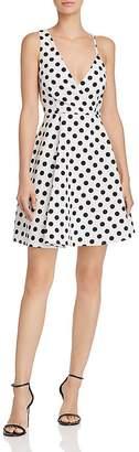 Aqua Polka-Dot Print Asymmetric Fit-and-Flare Dress - 100% Exclusive