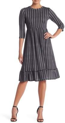 Paolino 3/4 Length Sleeve Stripe Dress
