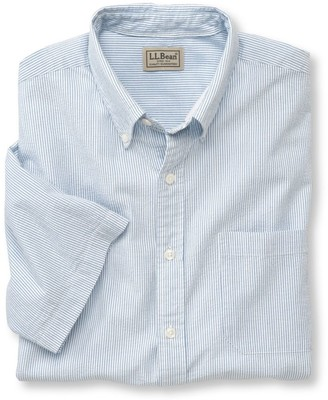 L.L. Bean L.L.Bean Men's Seersucker Shirt, Traditional Fit Short-Sleeve Stripe