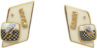 One Kings Lane Vintage 1980s Modern Design Ceramic Earrings - Thanks for the Memories