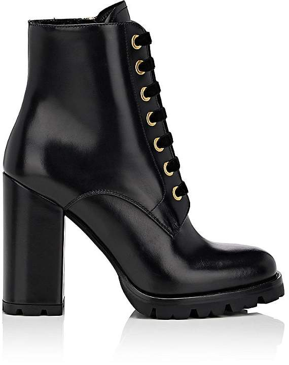 Prada Women's Leather Lace-Up Ankle Boots