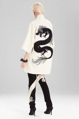 Natori Josie Felt Wool Coat With Embroidery