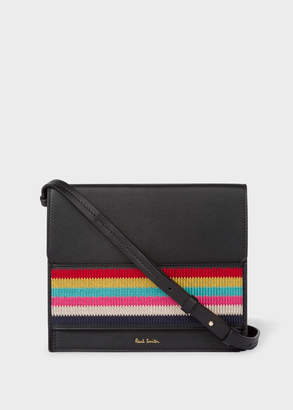 Paul Smith Women's Black Leather Cross-Body Bag With Multi-Coloured Stripe Embroidered Detail