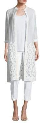 Lafayette 148 New York Auden Embroidered Duster Cardigan