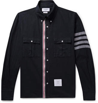 Thom Browne Button-Down Collar Grosgrain-Trimmed Cotton-Twill Zip-Up Shirt - Men - Blue