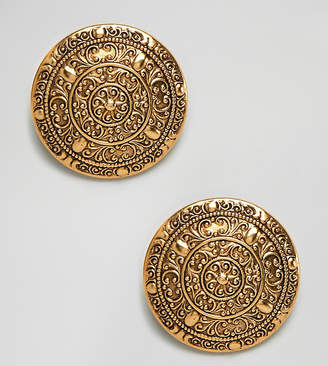 Regal Rose Dominique gold plated ornate oversized coin clip on statement earrings