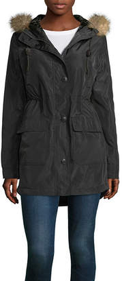Arizona Poly Twill Velvet Lined Fur Trim Jacket-Juniors