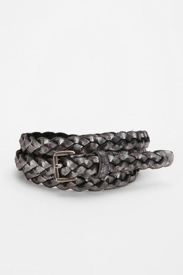 BDG Skinny Braided Leather Belt