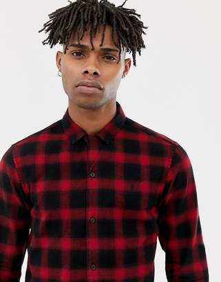 AllSaints Shirt In Red Check With Logo