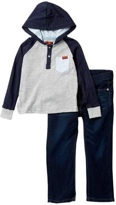 7 For All Mankind 2 Piece Hoodie Jersey Top Set (Toddler Boys)