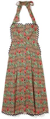 Temperley London Cypress-Print Cotton Halter Dress