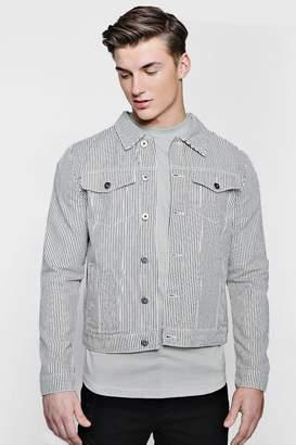 boohoo Striped Denim Jacket