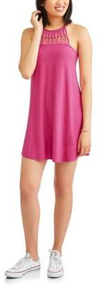Derek Heart Juniors' Yummy Sleeveless Cut In Shoulder Dress with Front and Back Spaghetti Loop Yokes