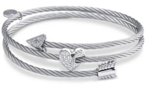 Charriol White Topaz Heart & Arrow Wrap Bracelet (1/8 ct. t.w.) in Stainless Steel & Sterling Silver