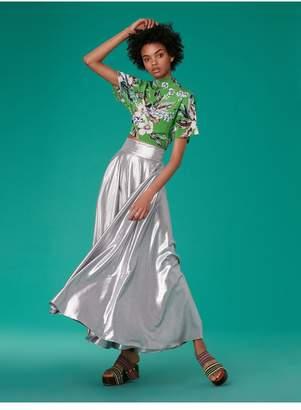 Diane von Furstenberg Short-Sleeve Raglan High Neck Blouse