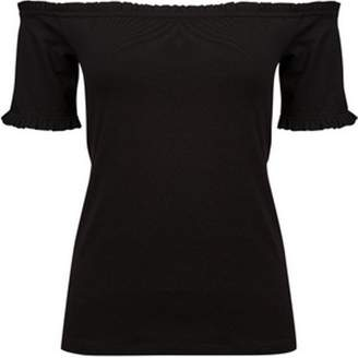 Dorothy Perkins Womens Black Frill Bardot Top