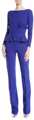 Chiara Boni Debra Double-Ruffle Long-Sleeve Jumpsuit