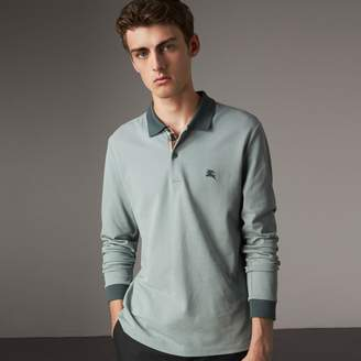 Burberry Long-sleeve Cotton Piqué Polo Shirt