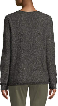 NYDJ Sequin Long-Sleeve Scoop-Neck Sweater
