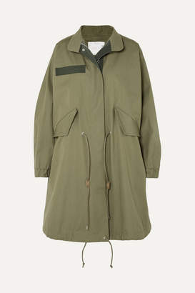 Sacai Asymmetric Cotton-gabardine Parka - Army green
