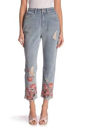 LOST INK Floral Hem High Waist Jeans