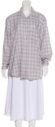 Billy Reid Plaid Long Sleeve Button-Up