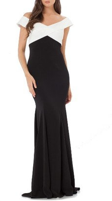 Women's Carmen Marc Valvo Infusion Portrait Collar Mermaid Gown $398 thestylecure.com