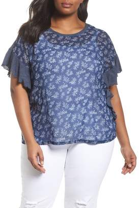 Vince Camuto Ruffle Sleeve Sheer Overlay Top (Plus Size)