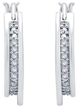 Sterling Silver Round Diamond Fashion Hoop Earrings (1/12cttw