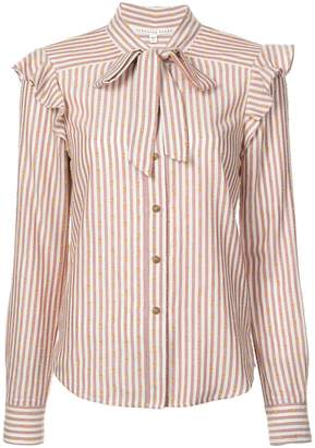 Veronica Beard striped pussy bow shirt