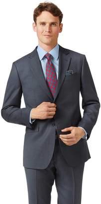 Charles Tyrwhitt Steel Blue Slim Fit Twill Business Suit Wool Jacket Size 38