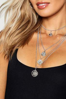 boohoo Multi Layered Coin Necklace