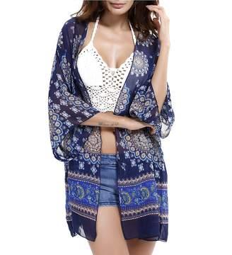 Rokou Women Swim Beach Cover up Summer Chiffon Beachwear Bikini Swimsuit Kimono Cardigan Blouse Tops