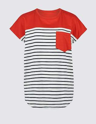 Marks and Spencer Pure Cotton Striped Short Sleeve T-Shirt