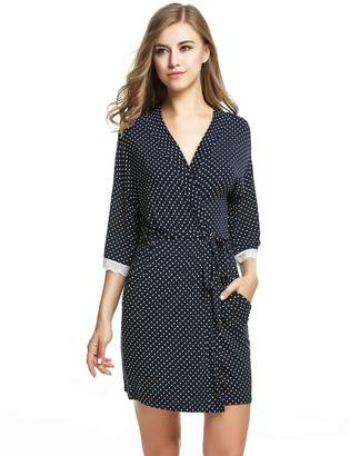 eb8e375d51 Ekouaer Spa Robe Womens Short Kimono Lightweight Lounge Bathrobe (Navy Dot