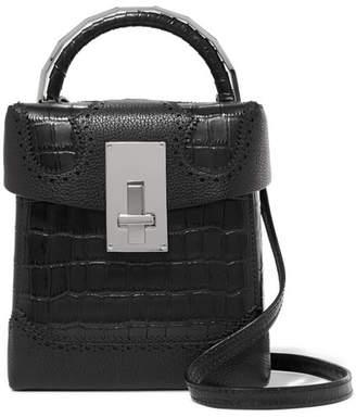 THE VOLON - Great L Alice Laser-cut Croc-effect Leather Shoulder Bag - Black