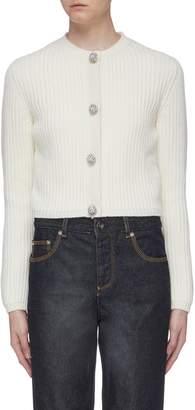 Miu Miu Glass crystal button cashmere rib knit cardigan