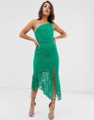 Asos Design DESIGN one shoulder grid lace midi dress