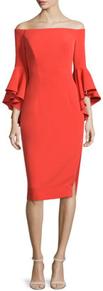 Milly Selena Off-The-Shoulder Sheath Dress, Flame $485 thestylecure.com
