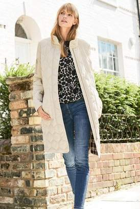 Next Womens Stone Long Quilt Jacket