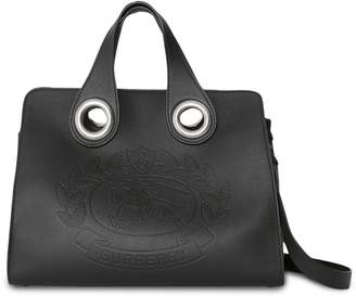 Burberry The Leather Crest Grommet Detail Tote