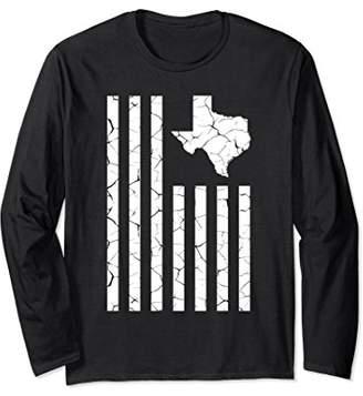Texas Cracked American Flag State Pride Long Sleeve