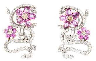 18K Pink Sapphire & Diamond Earrings