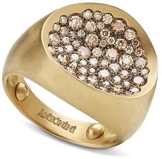 Antonini 18K Yellow Gold Large Matte Matera Pavé Cognac Diamond Ring