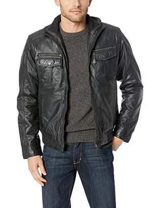 LN LUCIANO NATAZZI Men's Trim Fit Lambskin Leather Blast Washed Jacket