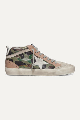 Golden Goose Mid Star Distressed Camouflage-print Leather And Suede Sneakers - Army green