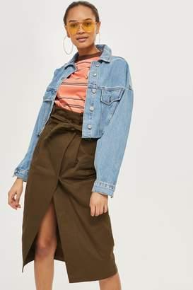 Topshop Cotton Twill Wrap Midi Skirt