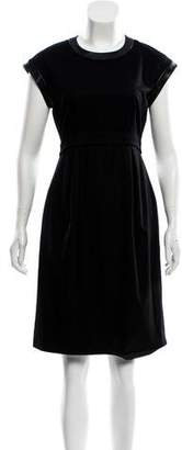 Celine Leather Trim Midi Dress