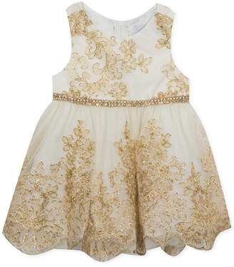 Rare Editions Baby Girls Gold Embroidered Dress